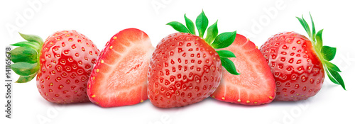 Five ripe strawberries with slices in a line with green leaves isolated on white background with clipping path
