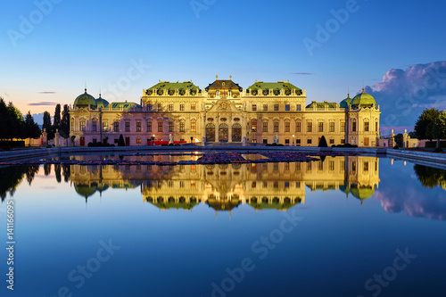 Deurstickers Wenen View of Belvedere Palace in Vienna after sunset, Austria
