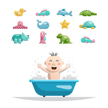 Vector Set Of Toys For Children In Bath