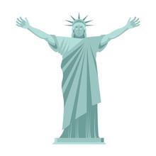 Statue Of Liberty Is Cheerful. Happy Landmark  America. Sculpture Architecture USA