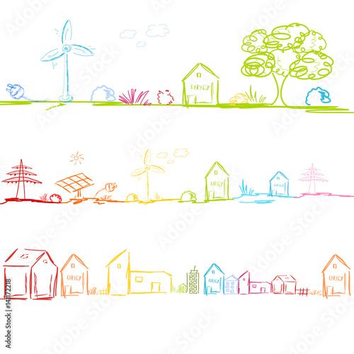 Fotografie, Obraz  Dorf Stadt Energie Landschaft Strom Wind Solar Industrie Hintergrund Band Banner
