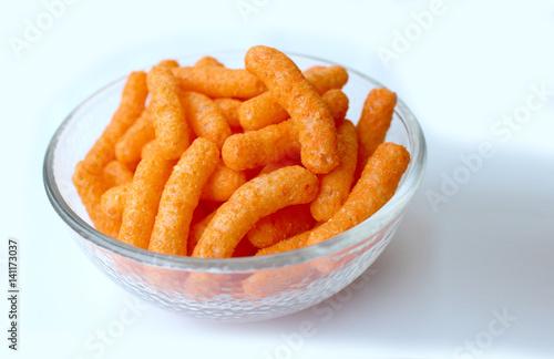 Bowl with cheddar puffs