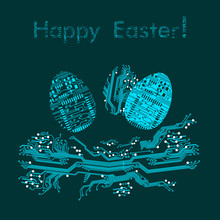 Easter Eggs In Nest In Circuit Board Style. Happy Easter Greeting Card. Vector Illustration
