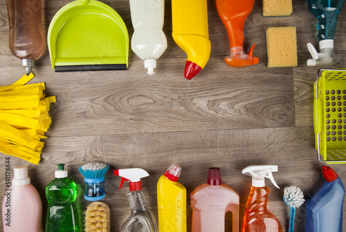 Fotografie, Obraz  House cleaning product on wood table