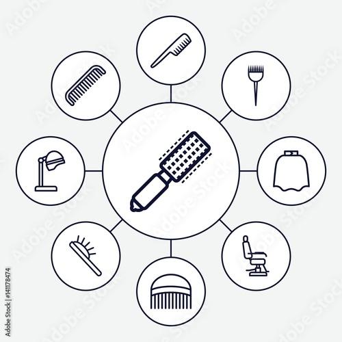 Set of 9 hairdresser outline icons