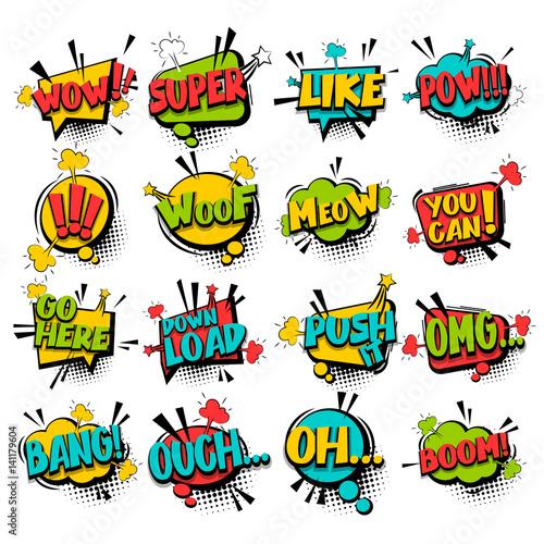 Fotobehang Pop Art Big set comic text speech bubble phrase