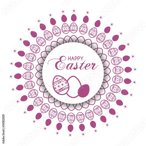 Obraz happy easter card with decorative wreath  - fototapety do salonu