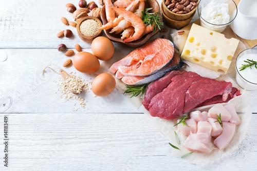 In de dag Assortiment Assortment of healthy protein source and body building food