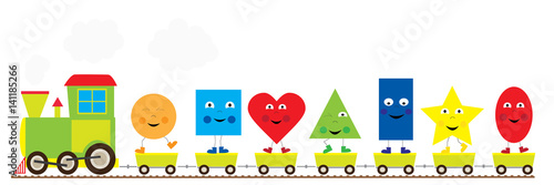 The train with funny dancing basic geometric shapes/ educational illustration for children