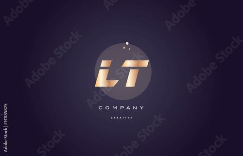 lt l t gold metal purple alphabet letter logo icon template