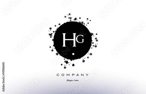 hg h g circle grunge splash alphabet letter logo vector icon template