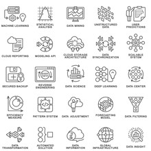 Modern Contour Icons Database Processing Methods Of Data.  Data Science Technology, Machine Learning Process. Data Insight, Transformation, Scalable, Modeling API, Pattern System. Thin Contour Lines.