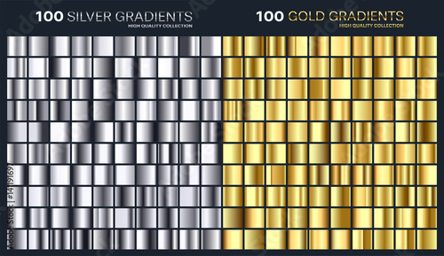 Poster Metal Gold,silver gradient,pattern,template.Set of colors for design,collection of high quality gradients.Metallic texture,shiny background.Pure metal.Suitable for text ,mockup,banner, ribbon or ornament.