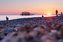 Brighton Pier And Beach, England