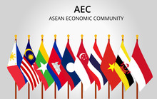 Asean Economic Community And Member Country Flag Of Aec
