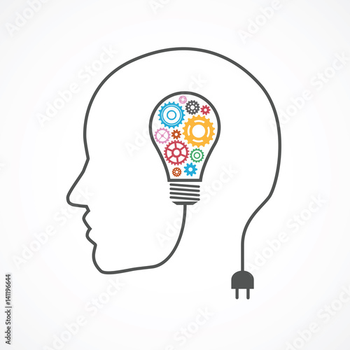 Strategic thinking and planning concept with head line and lightbulb with gears Canvas Print