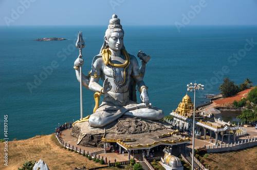 Zdjęcie XXL Hinduska bóg statua, władyki Shiva rzeźby obsiadanie w medytaci India, 2011