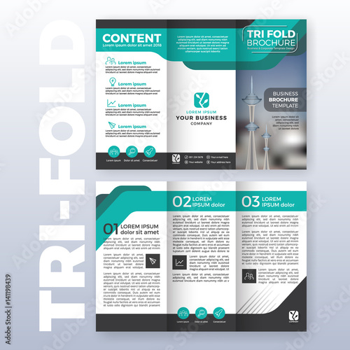 Business Tri Fold Brochure Template Design With Turquoise Color