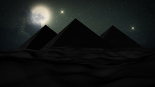 Realistic 3D Illustration Night In The Desert, Big Moon And Some Clouds With Stars Above The Pyramids Of Giza. Desert Background. The Milky Way Rises Over The Pyramids In Egypt.