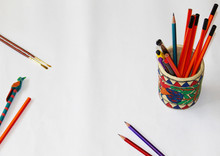 Pen-pencil Stand With Pen And Pencils For Office, Study Or Craft Material