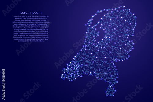 Canvas Print Map of Netherlands from polygonal blue lines and glowing stars vector illustrati