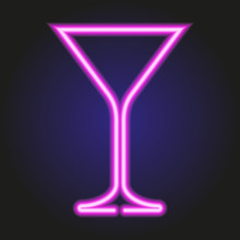 Martini Glass Glowing Pink Neo...