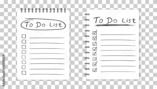 Fototapeta Realistic notepad with spiral. To do list icon with hand drawn text. School business diary. Office stationery notebook on isolated background obraz