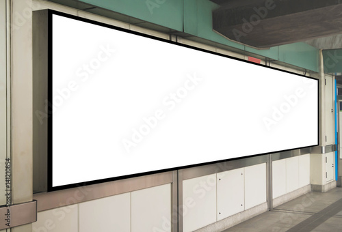 Mock up Blank Signboard template display on the wall at Train ...