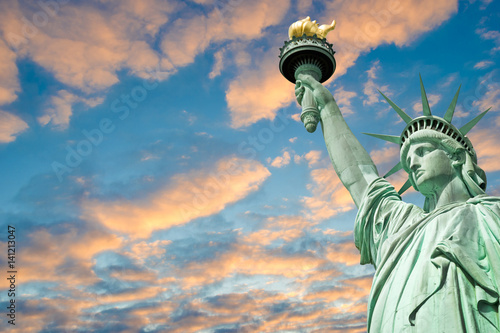 Statue of Liberty, beautiful sky background with copy space, New York, USA Canvas Print