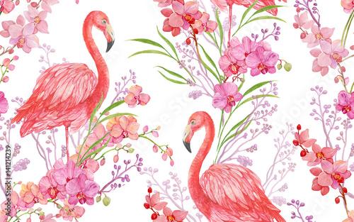 ptak-bez-szwu-desen-tla-kwiatu-rozowy-flamingo-i-orchid