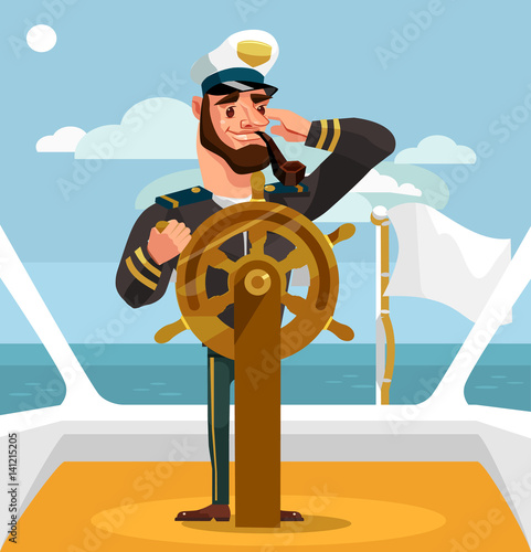 Fotomural Smiling happy captain character at helm