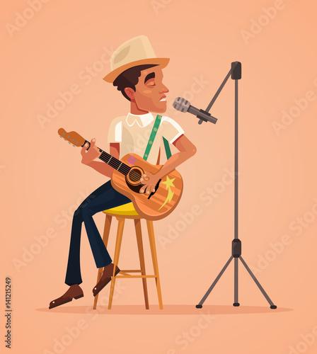 Singer man character sing song and play guitar. Vector flat cartoon illustration - 141215249