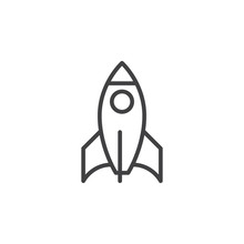 Rocket Line Icon, Outline Vect...