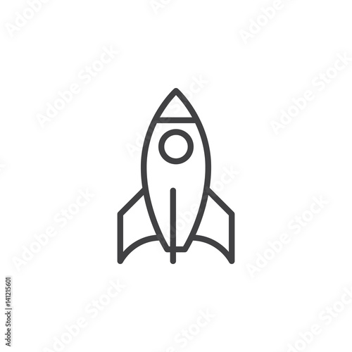 Pinturas sobre lienzo  Rocket line icon, outline vector sign, linear style pictogram isolated on white