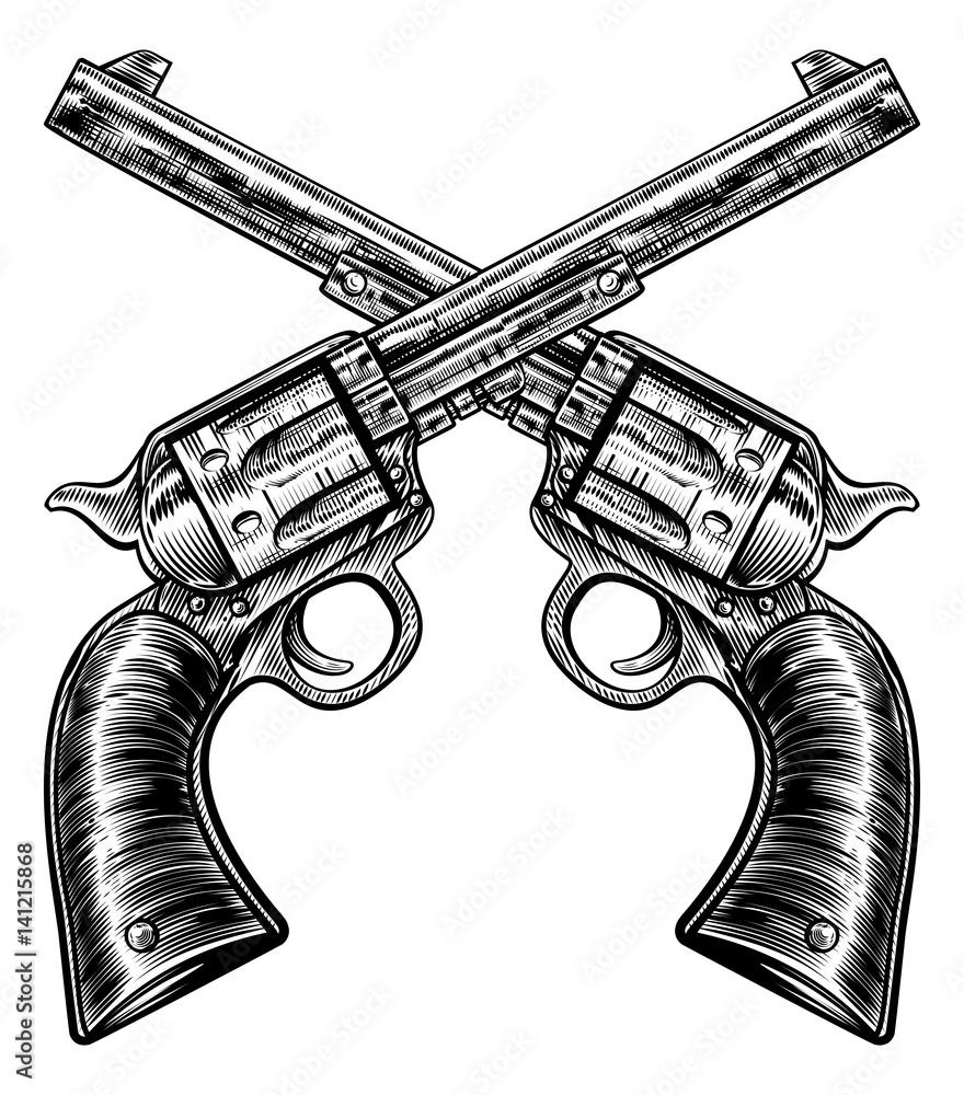 Fototapeta Crossed Pistol Gun Revolvers Vintage Woodcut Style