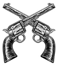 Crossed Pistol Gun Revolvers V...