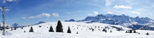 Corvara, Alta Badia winter panorama view Canvas Print