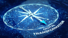 Digital Transformation Concept - Compass Needle Pointing Digital Transformation Word. 3d Rendering