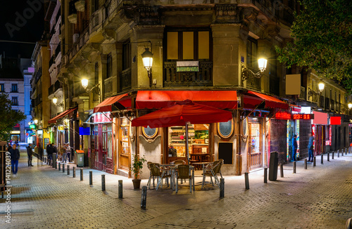 Night view of old cozy street in Madrid, Spain