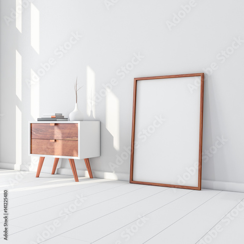 White Poster With Wooden Frame Mockup Standing On The Floor 3d