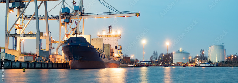 Fototapeta Containers loading by crane in the morning , Trade Port , Shipping