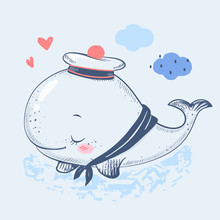 Cute Baby Whale In A Sailor Su...