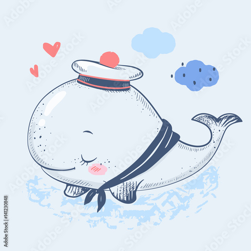 Can Be Used For Baby T Shirt Print Fashion Design Kids Wear Shower Celebration Greeting And Invitation Card By Elgaart Cute Whale