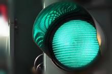 Green Traffic Light Close Up.
