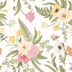 NaklejkaSeamless floral pattern with spring flowers.
