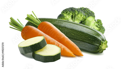 Zucchini carrots broccoli isolated on white background