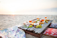 Picnic On The Beach At Sunset ...