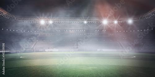 Fototapety, obrazy: Foggy soccer field . Mixed media