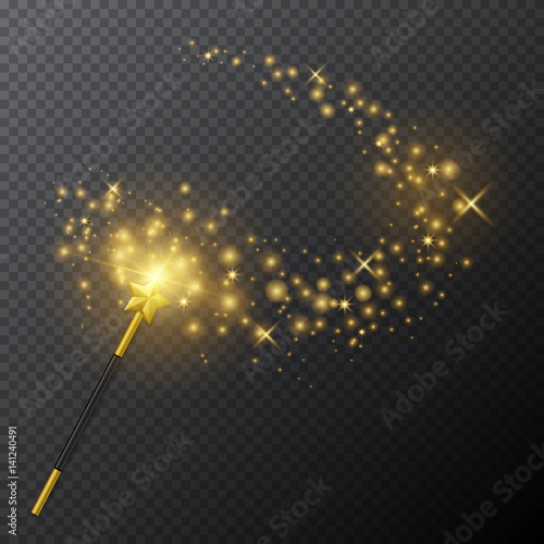 Fotografie, Obraz  Vector golden magic wand with glow light effect on transparent background