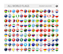 Round World Flags Vector Colle...